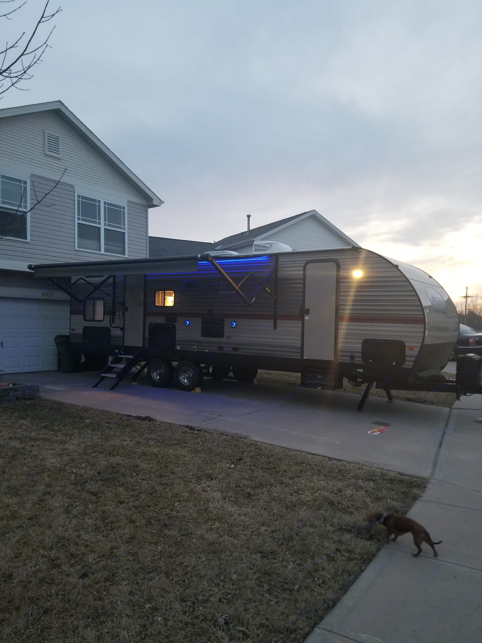 Large, electric awning with LED lighting.. Forest River Cherokee 2018