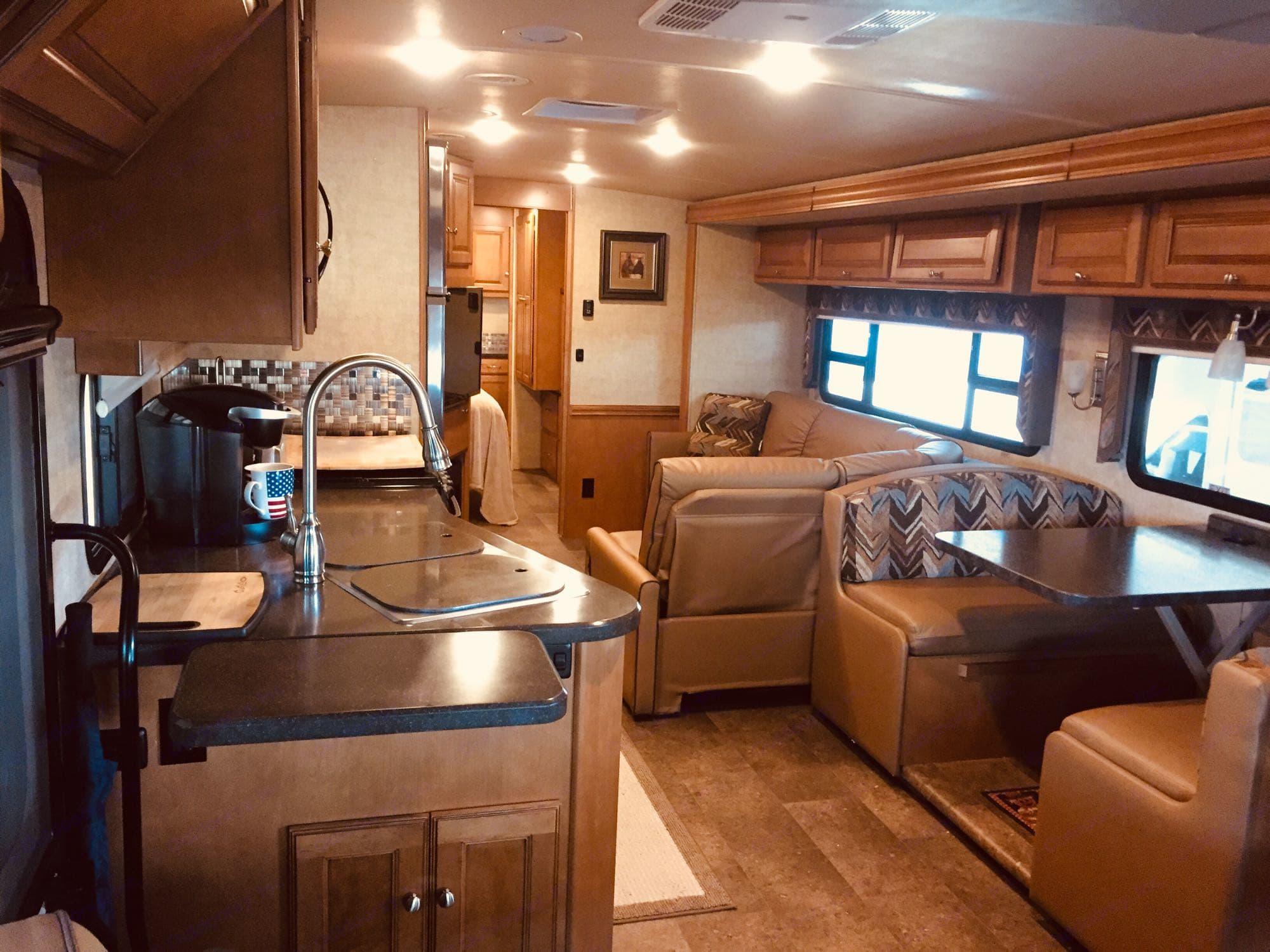 Main living area with slider extended.. Winnebago Vista LX 2017