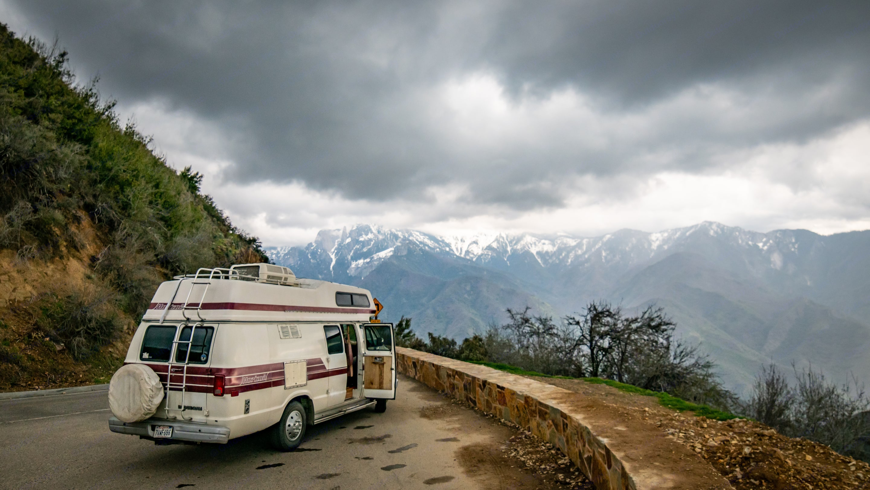 Bianca at Yosemite National Park. Dodge B350 Intervec Horizon 190 1987