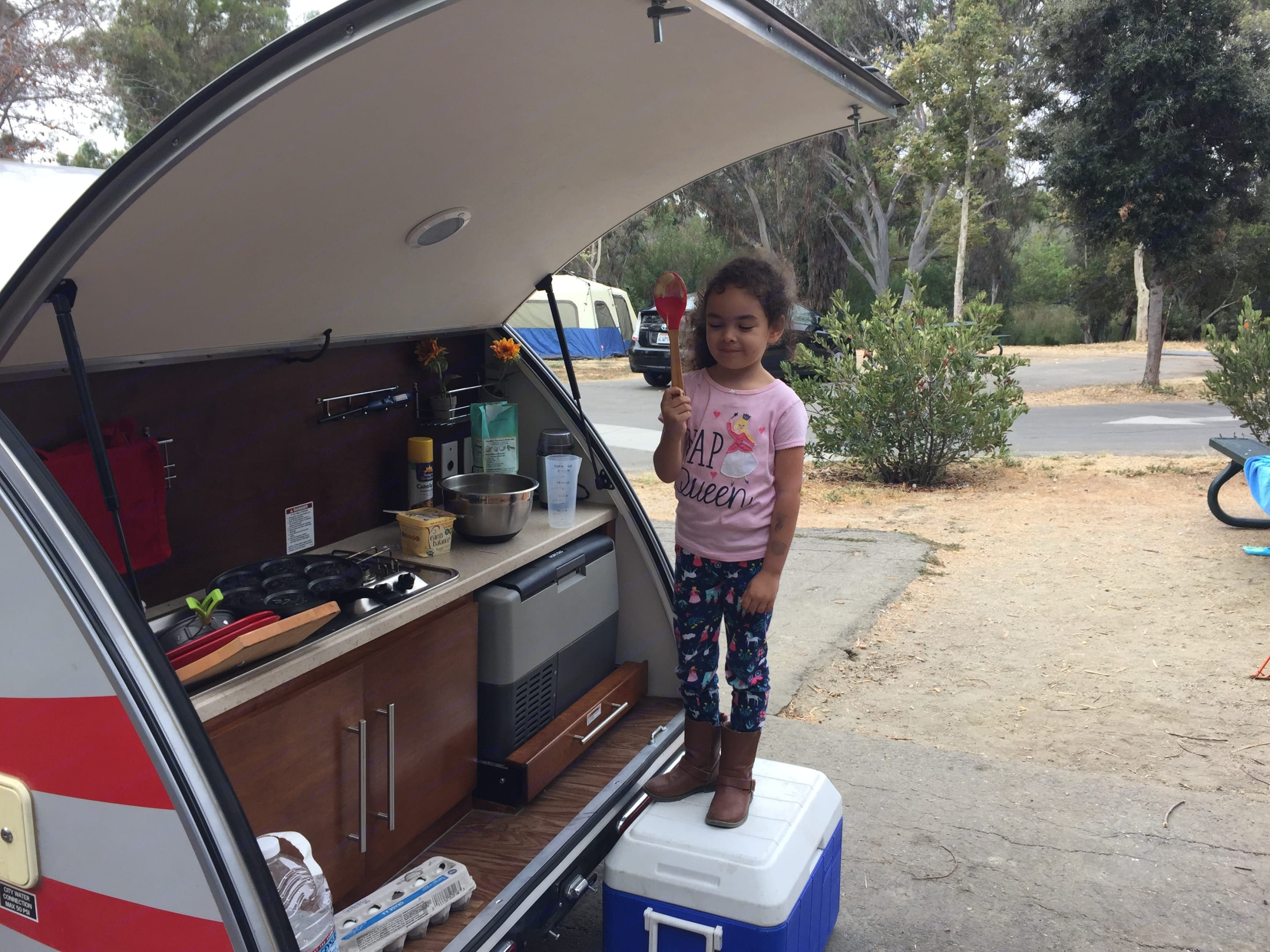 This was the first camping trip for our granddaughter.  She was afraid to camp, but in the teardrop she has a blast!. T@G Teardrop Trailer 2016
