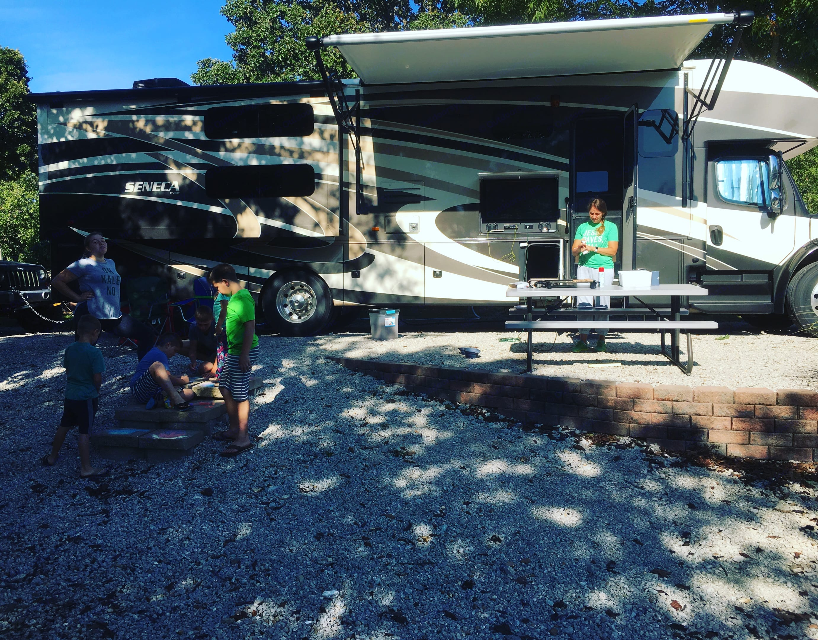 Hanging and cooking outside in the griddle!. Jayco Seneca 2016