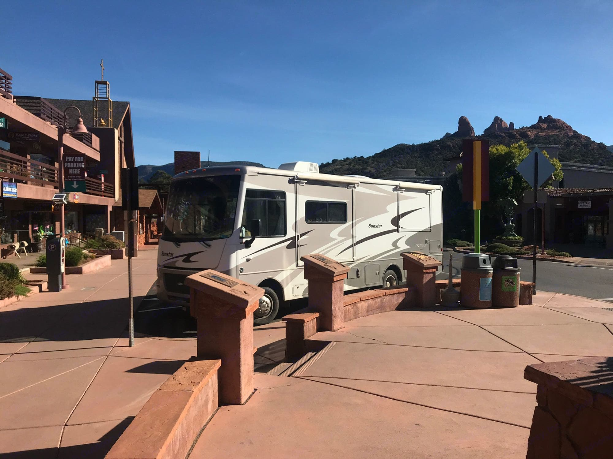 Not too big to park! Granted this was a large space in Sedona, but this rig is pretty manageable and easy to navigate.. Itasca Sunstar 2013