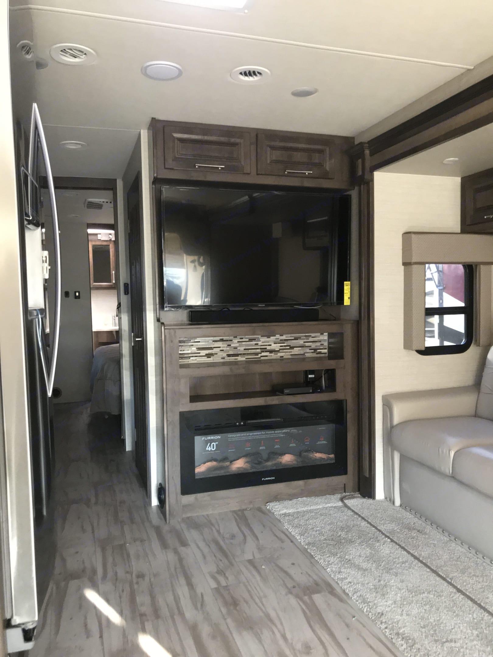 TV and Fireplace. Entegra Coach Emblem 2019