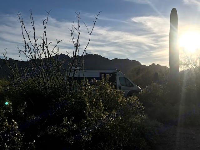 Sunset in Saguaro National Park. Gilbert Ray Campground.. Roadtrek Simplicity SRT 2018