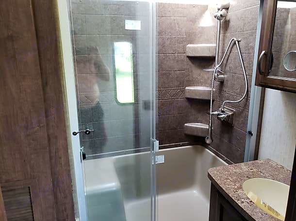 Bathroom comes with full shower sink and toilet.. Forest River Sandpiper 2019