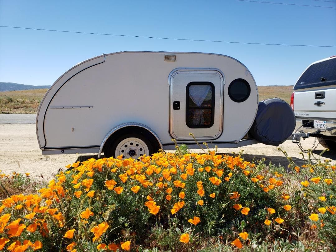 Out in the California desert. American Teardrop Travel Trailer 2014