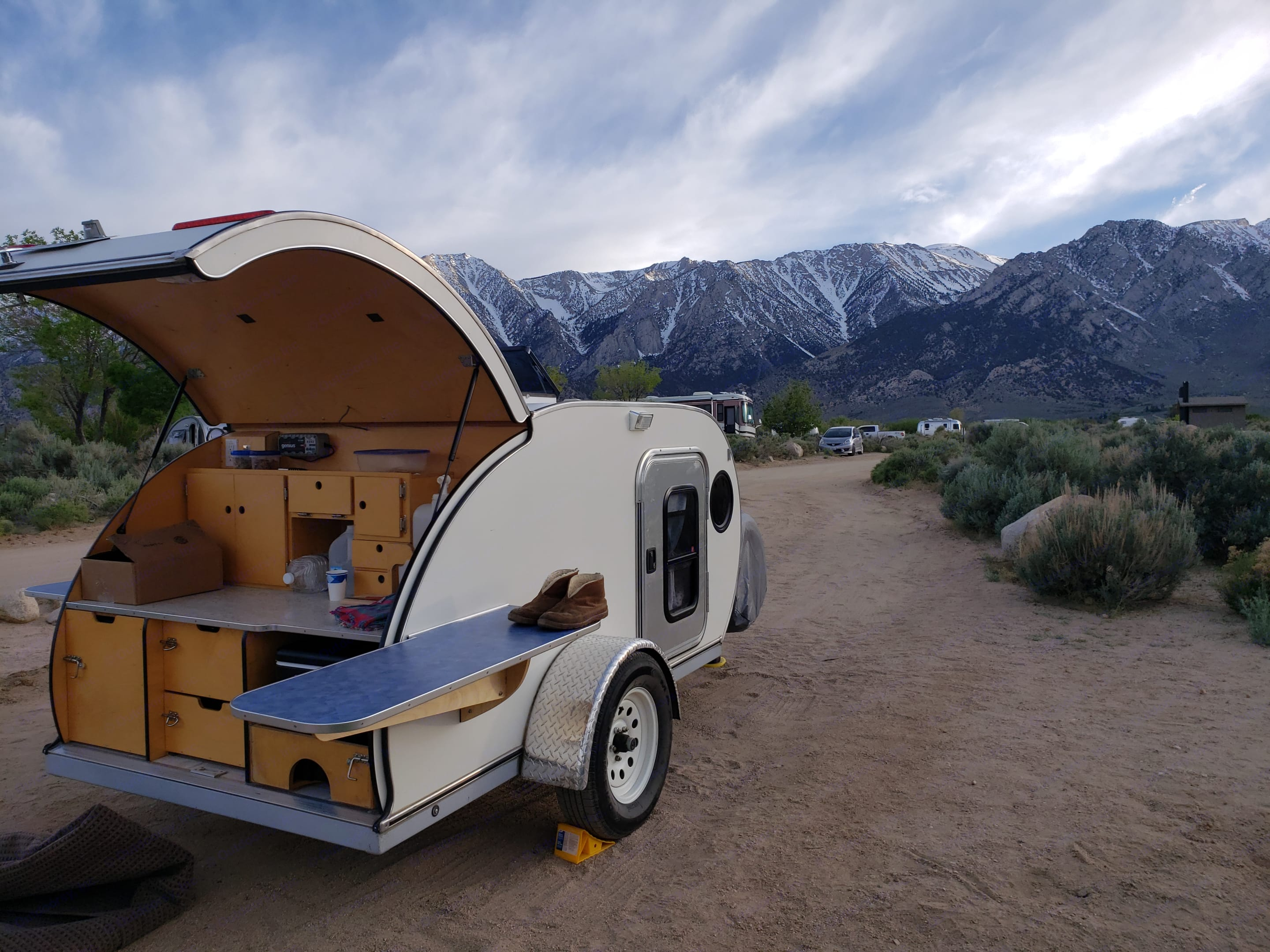 Galley with storage, stove, cooler. American Teardrop Travel Trailer 2014