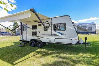Kick back and watch TV under the automatic awning. Jayco Jay Feather Ultra Lite 2017