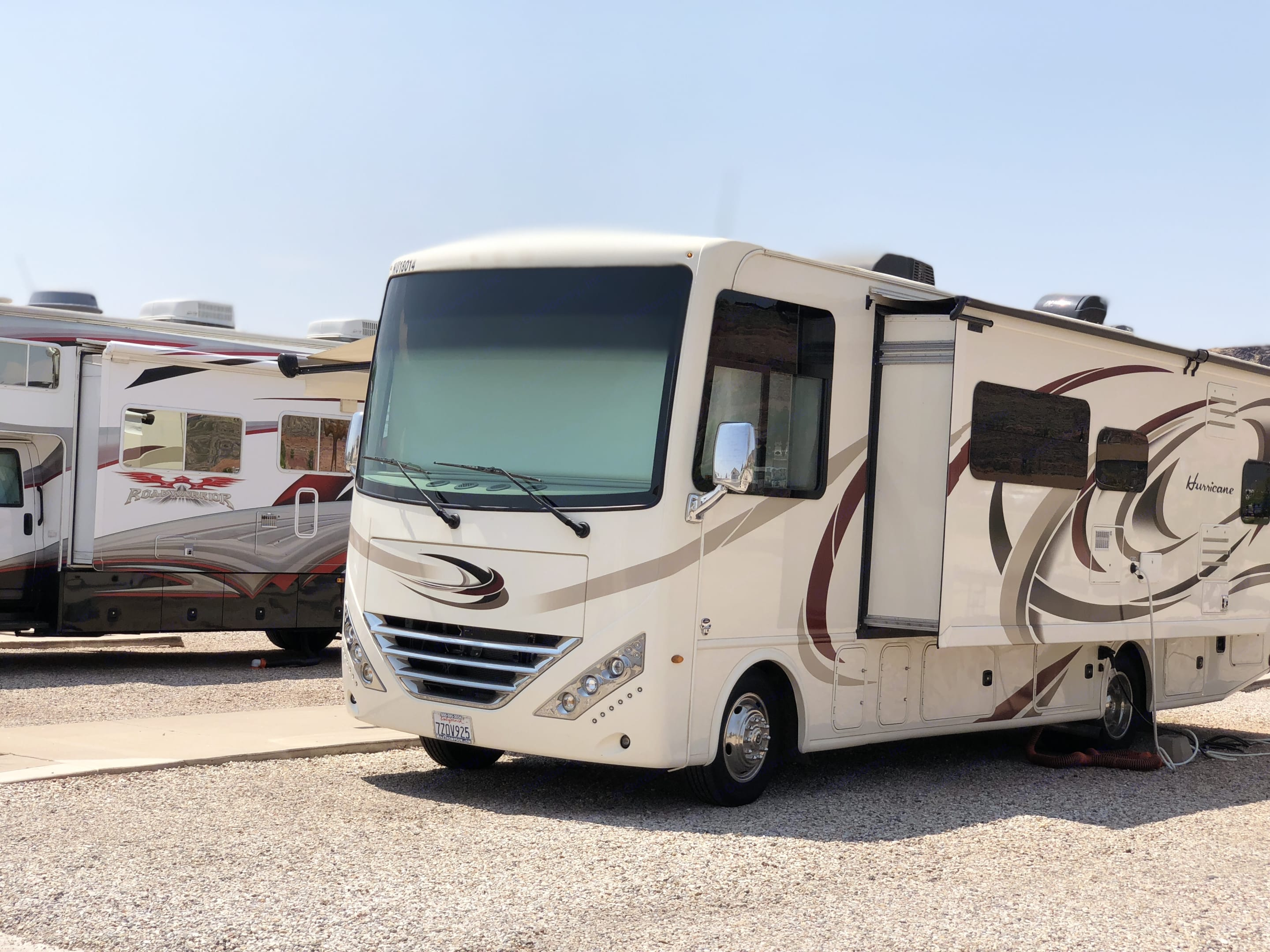 Our beautiful RV prior to wrapping. Thor Motor Coach Hurricane 2018