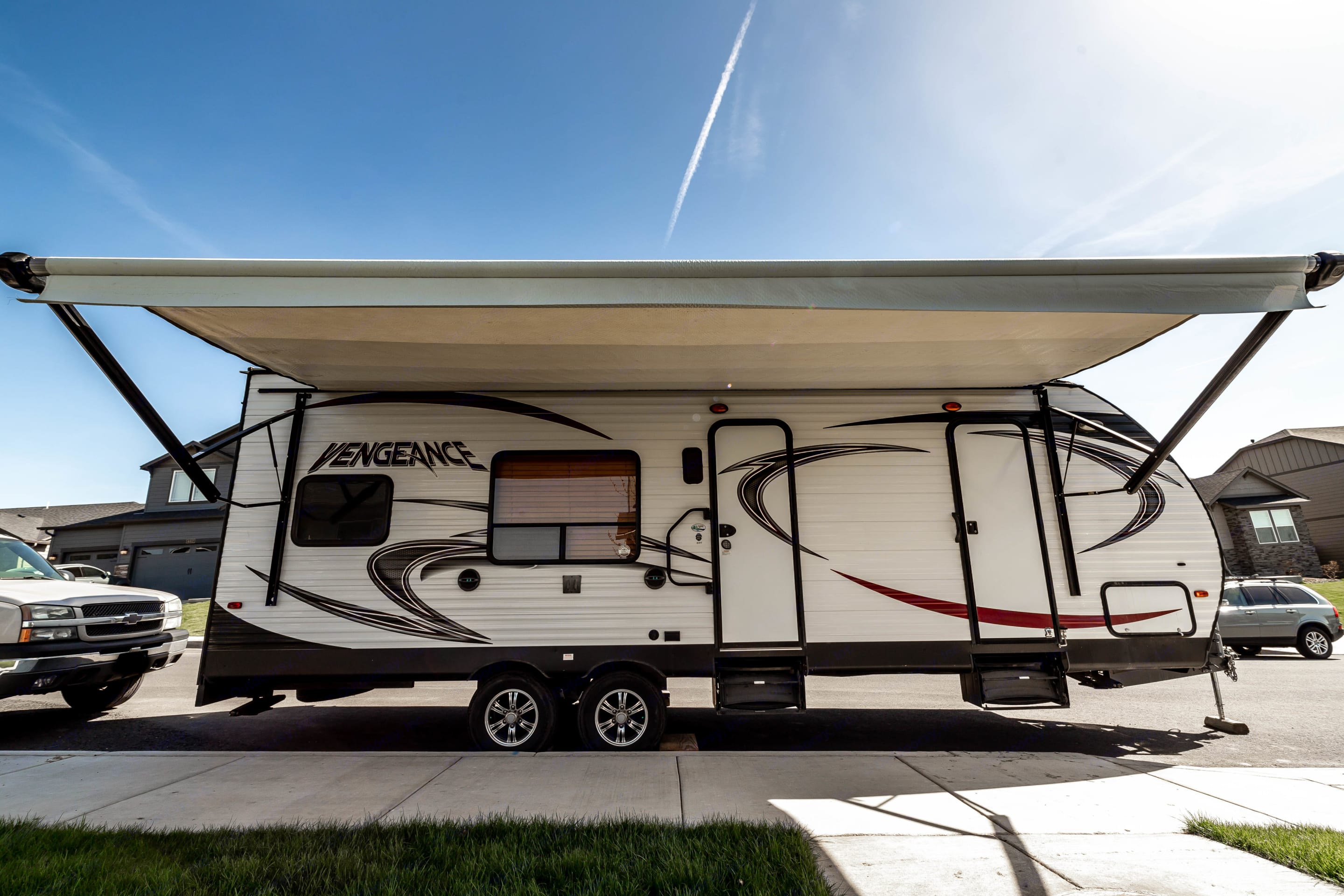 This rig comes with a very large and adjustable canopy!. Forest River Vengeance 2015