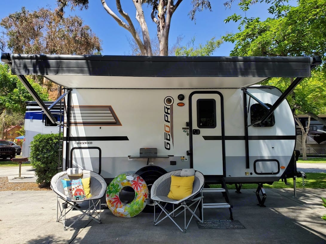 Relax and take a nap under the awning.. Forest River GeoPro 2020