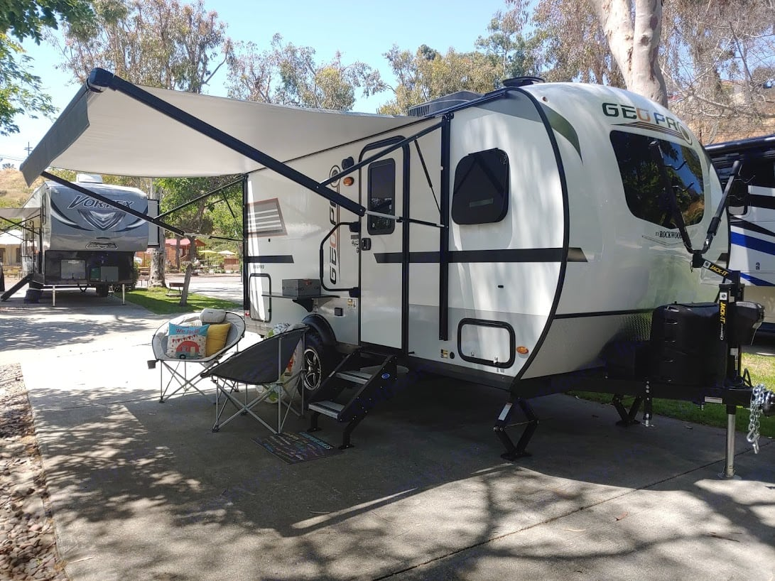 The bike rack is attached to the front of the travel trailer.. Forest River GeoPro 2020