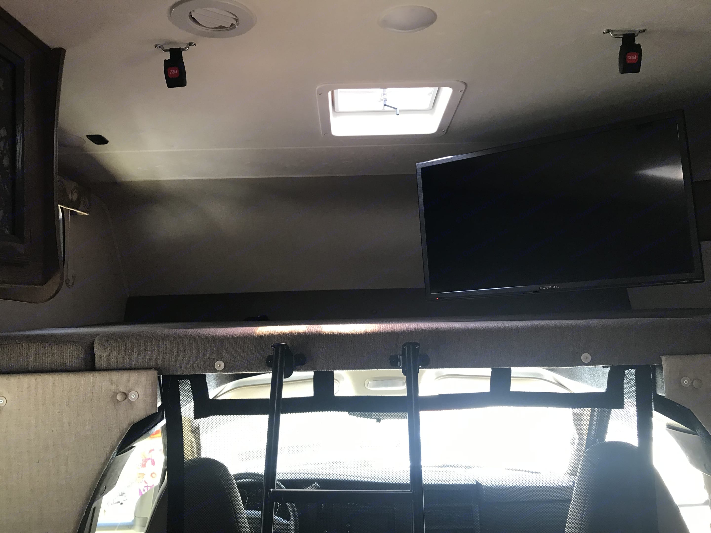 Bunk over cab fits 2 adults or 3 small people. Coachmen Freelander 2019