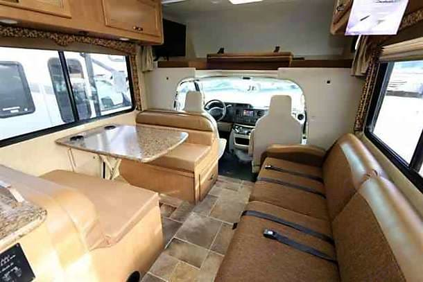 dining / living room and front of the rv. Thor Motor Coach Freedom Elite 2016