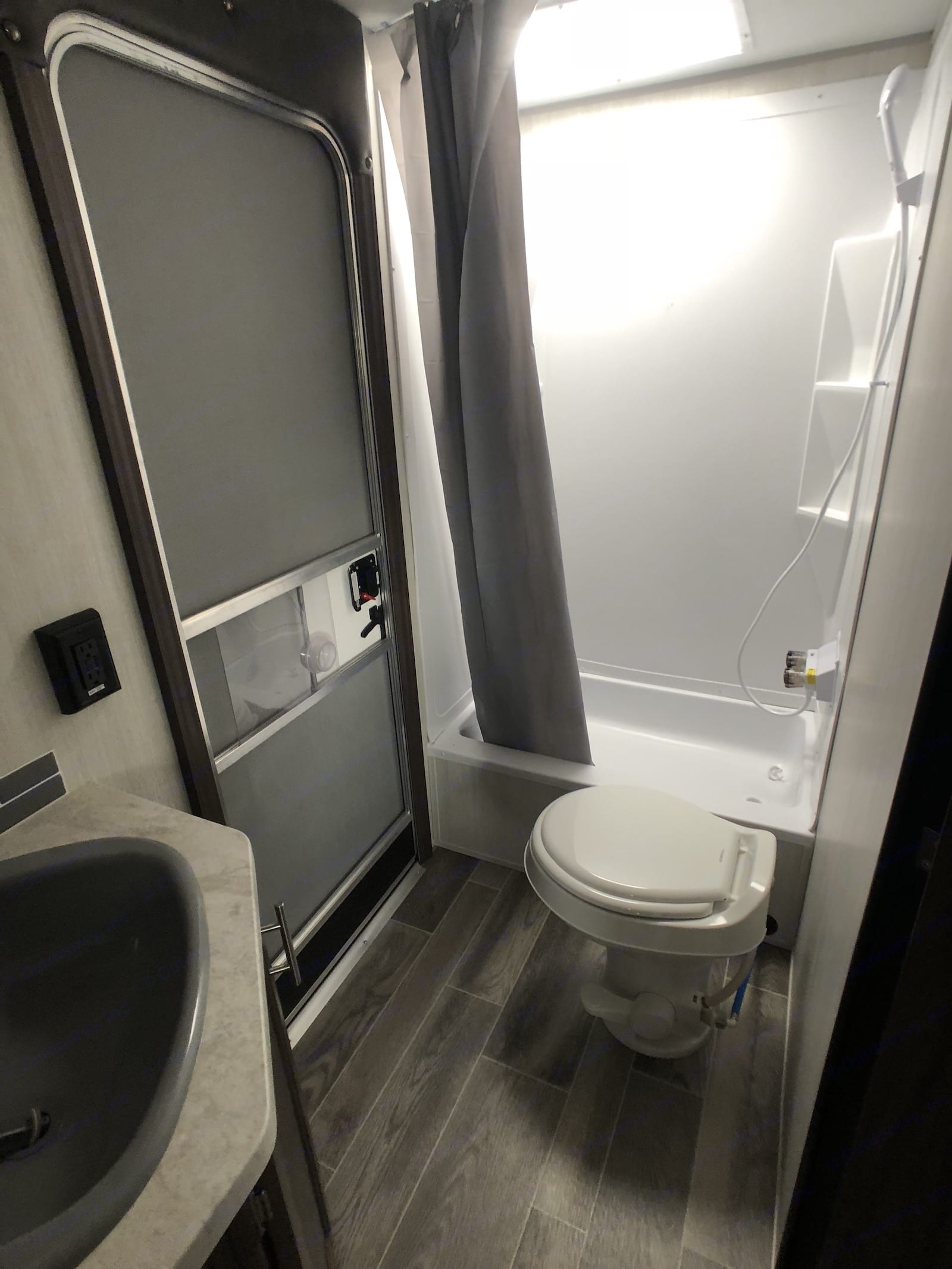 Bathroom at Rear of RV. Forest River Cherokee Grey Wolf 2019