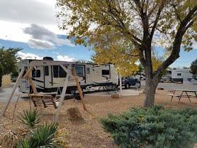 Our trailer at the Albuquerque KOA. Grand Design Reflection 2017