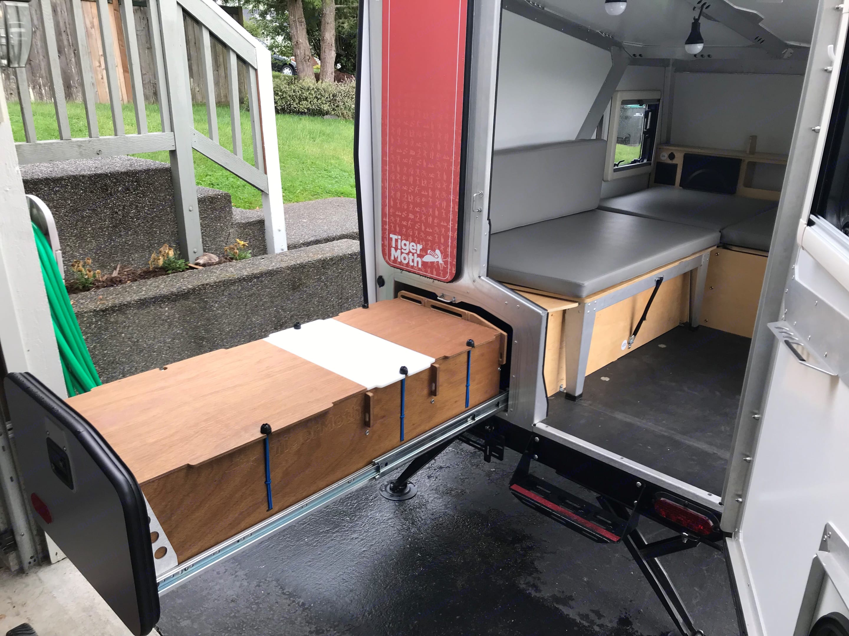 Slide out kitchen provides for all cooking needs.. TAXA Outdoors Tigermoth Camper 2016