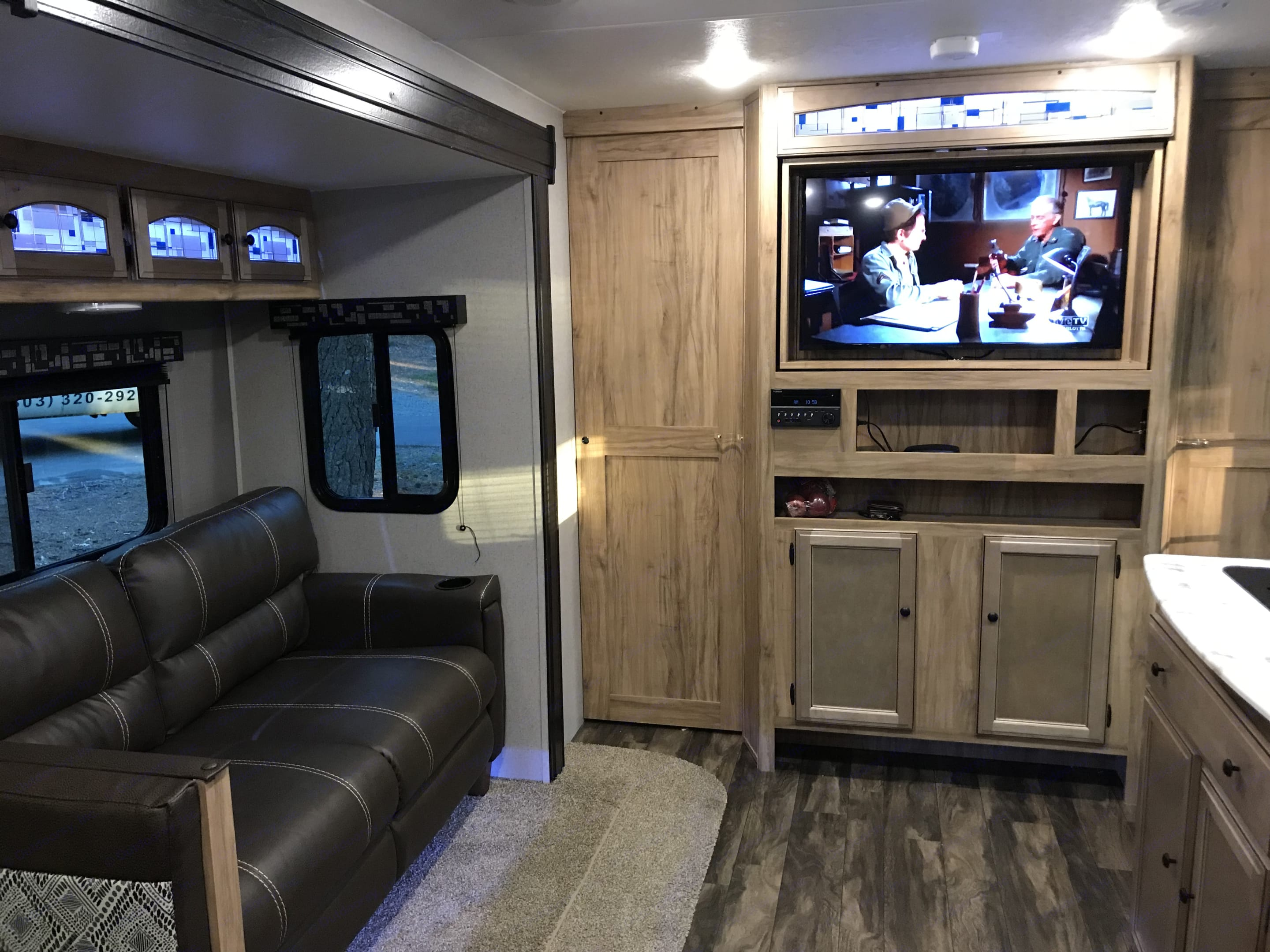 Large TV with surround sound. Coachmen Freedom Express 2019