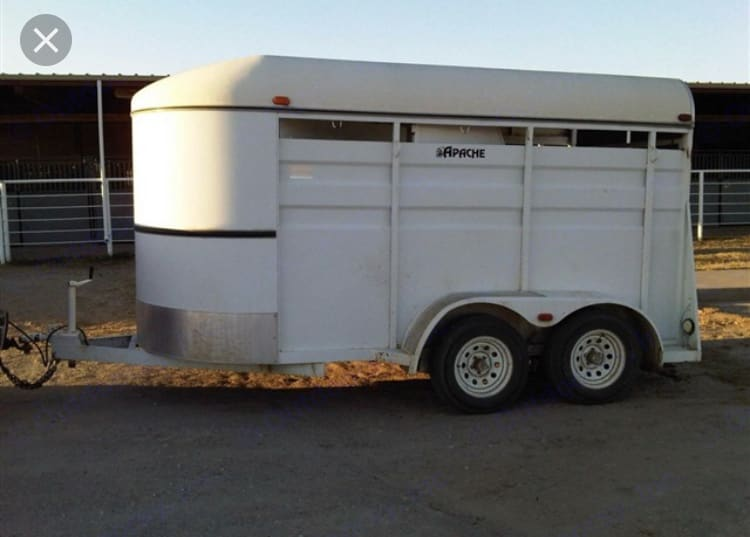 2 horse slant load Back door swings out left Tack room wall optional (swings open if utilizing while size of trailer for moving)  Rubber mat flooring . Apache 16' Enclosed Trailer W/ Tandem Axle 1997