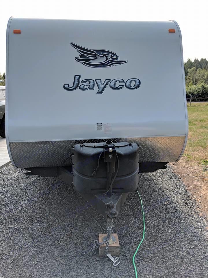 Propane tank area. Jayco Flight 2014