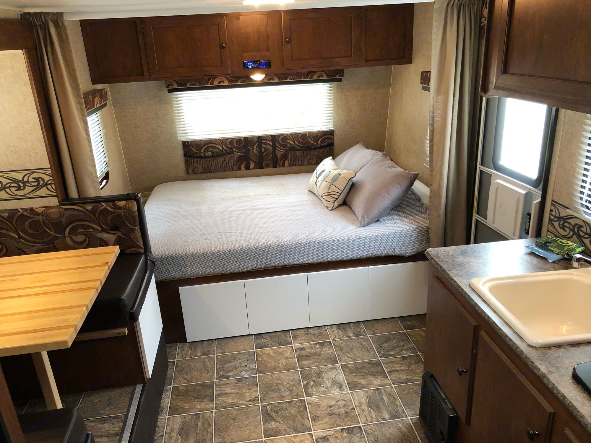 Double bed in front of the trailer.. K-Z Manufacturing Escape 2014