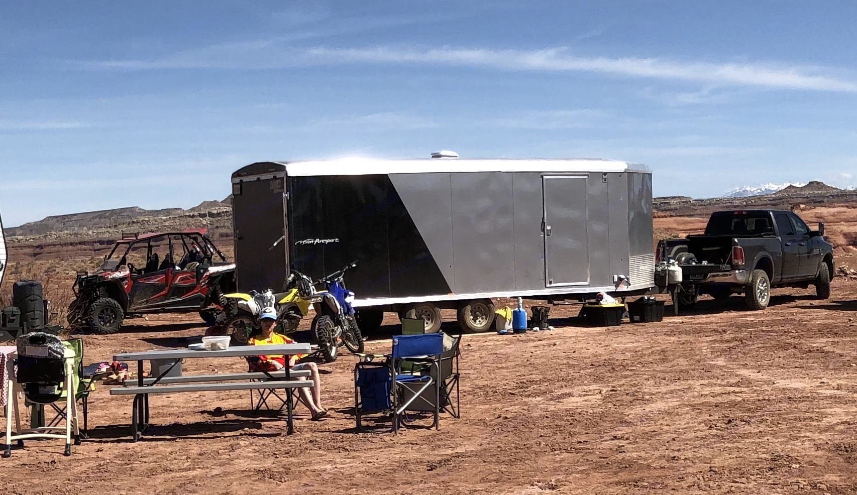 27 Foot Toy Hauler/Trailer  setup for great overnight accomodations. Vision puresport 2018