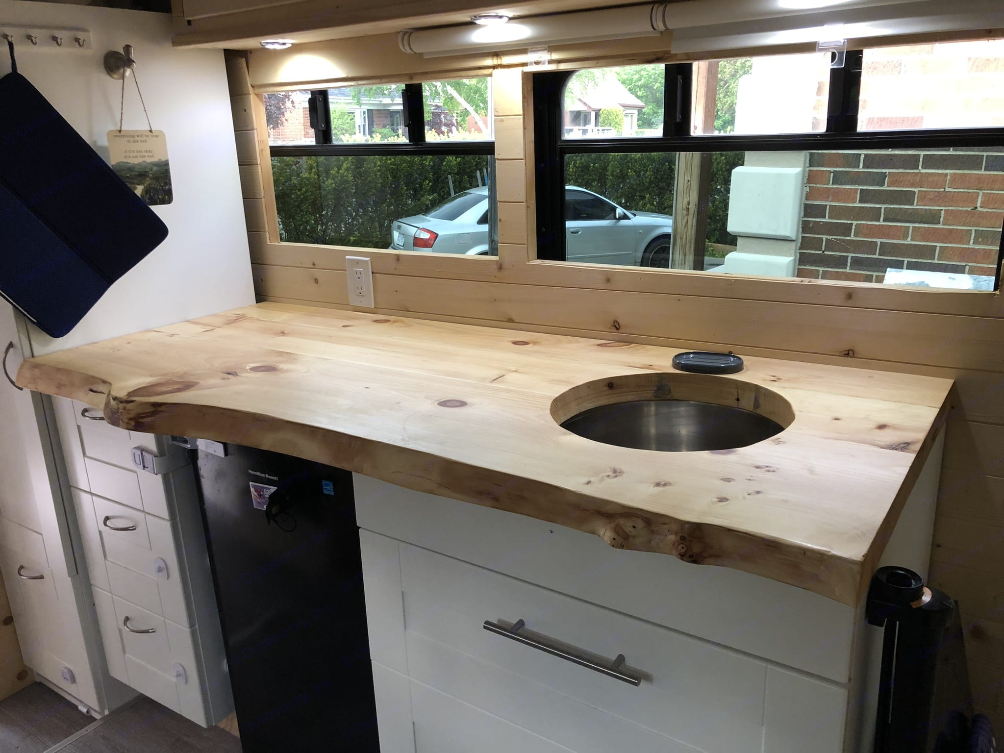 Live edge kitchen countertop perfect for meal prep! Off grid fridge, panty, and plenty of storage.. Custom Other 2019