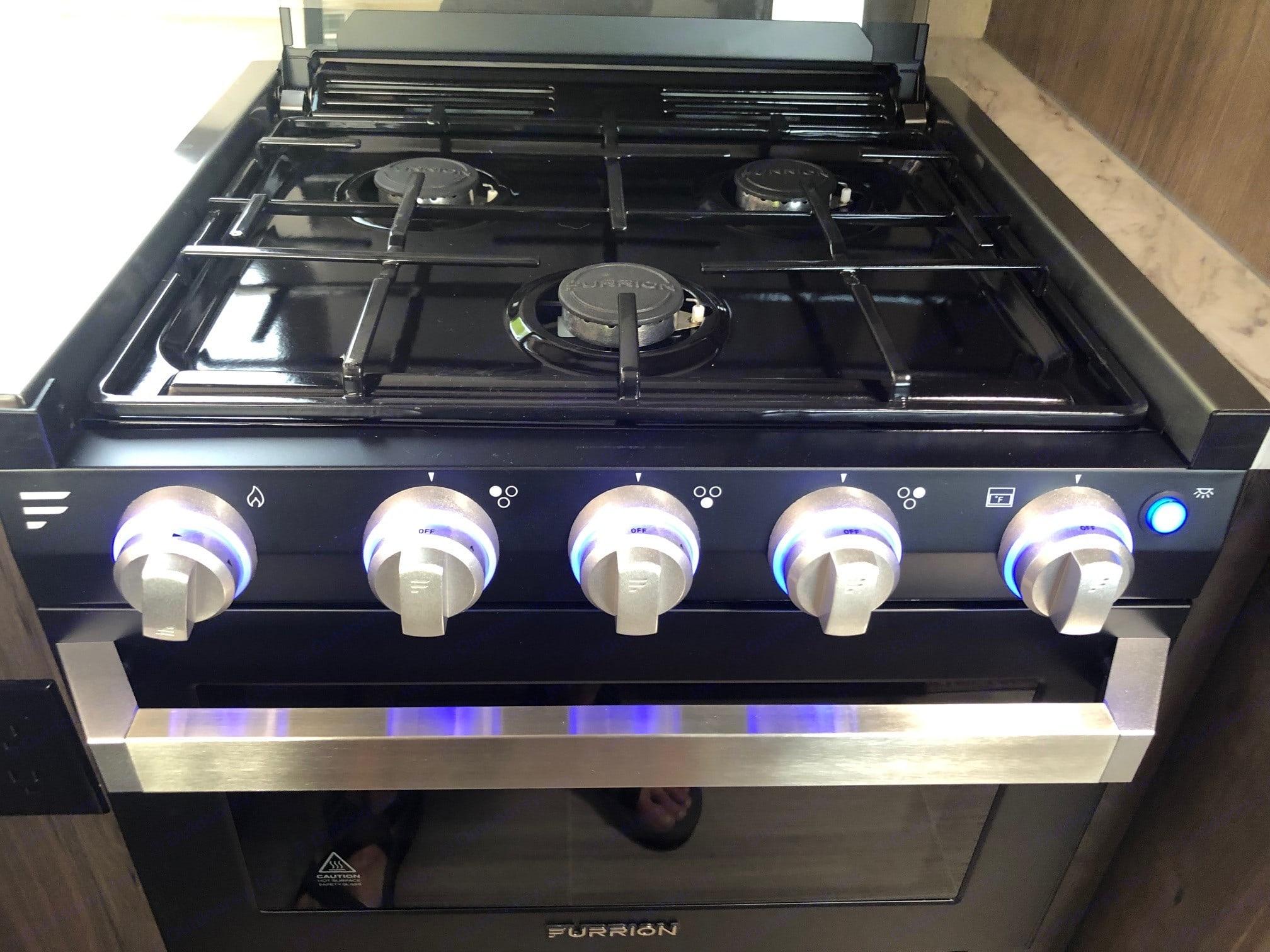 3 burner stove with fun LED lighting. Keystone Passport 2019