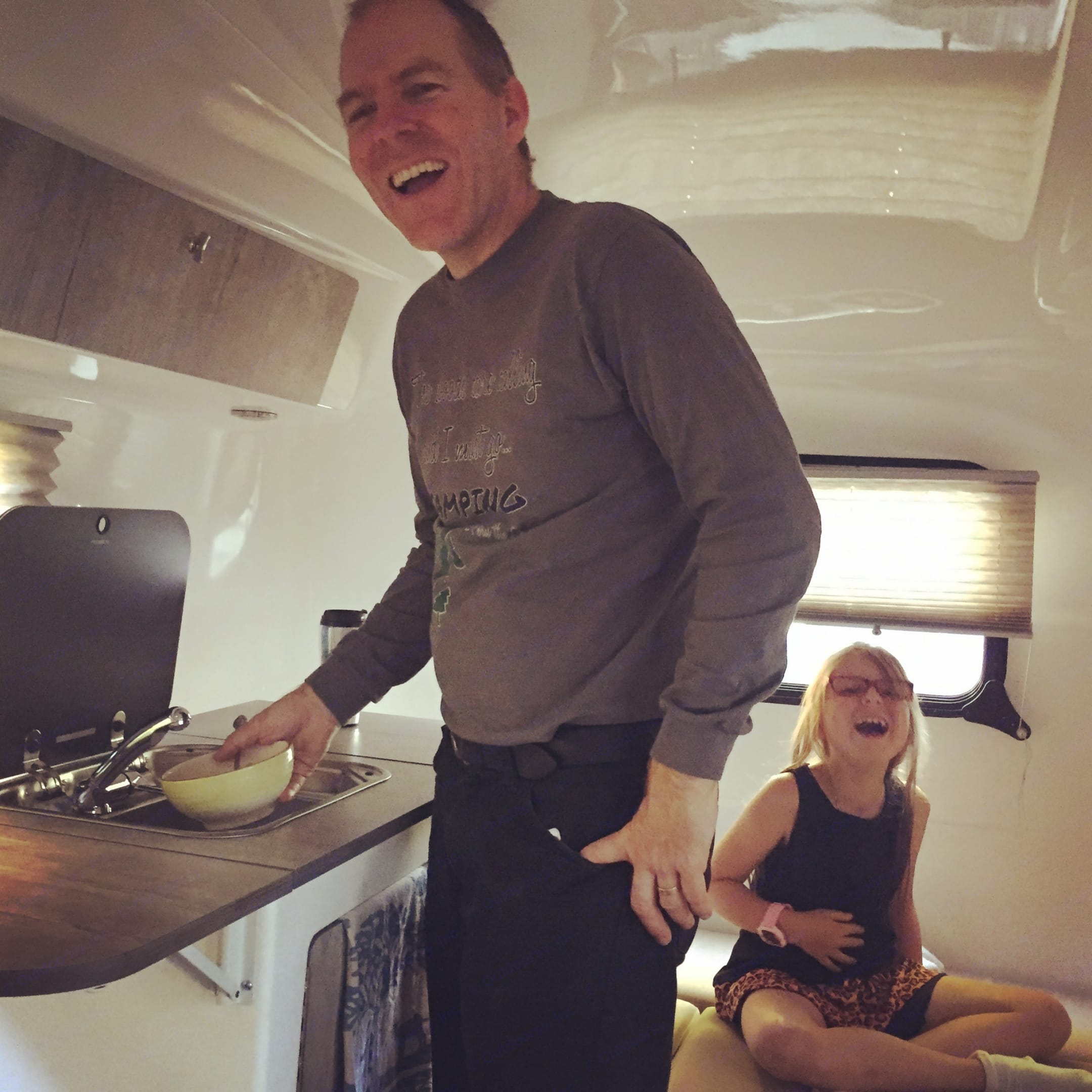 The kitchenette hooks up to city water but it doesn't have to - remove the whole unit and have dinner and cooking outside. Just note, the sink won't pump water if you're not plugged into the solar - you'll need to bring it back in to wash up afterwards.. happier camper HC1 2019