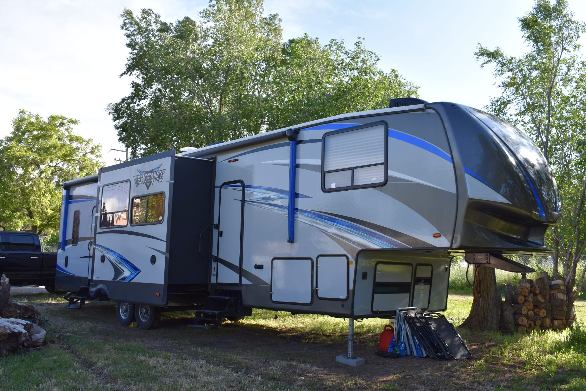 41' Vengeance Toy Hauler with 8'x8' party deck and 3 awnings. Glamping at it's finest!!. Forest River Vengeance 2018