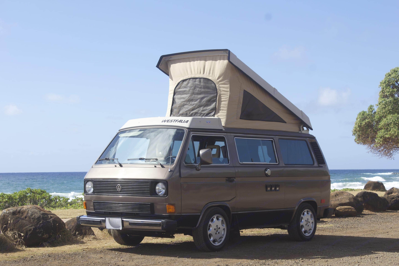 Beach front stops. Volkswagen Vanagon 1985