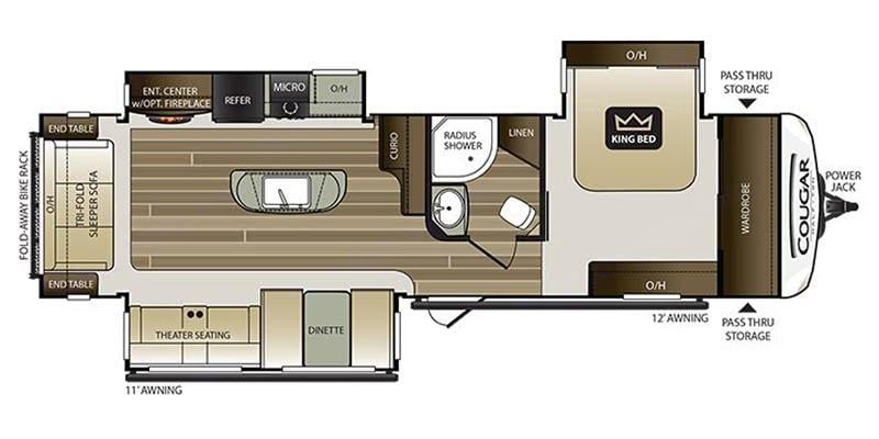 Open floor plan . Keystone Cougar Half-Ton 2018