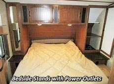 spacious bedroom with privacy curtains. under bed storage. Jayco White Hawk 2016