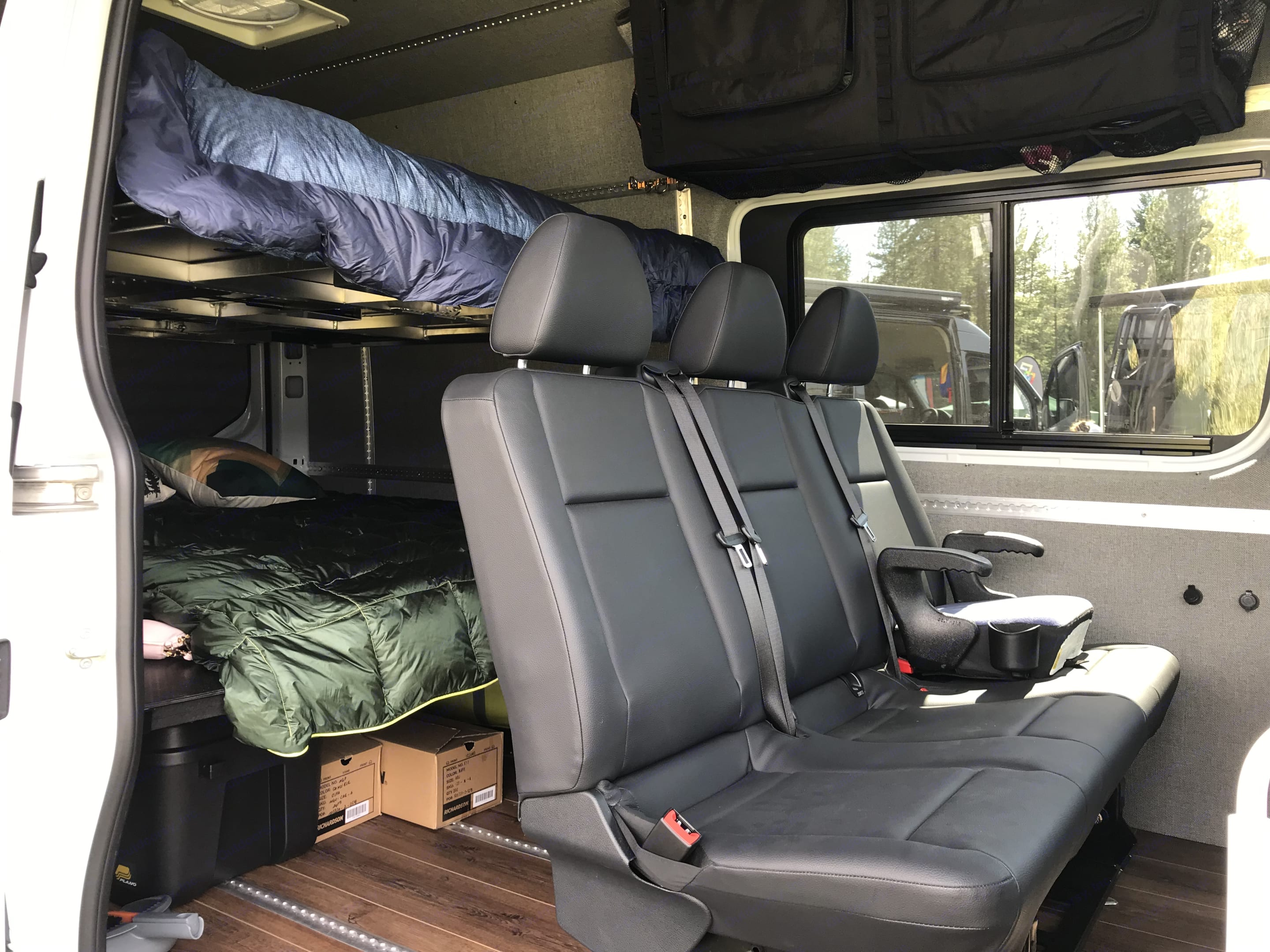 Bench seat can be moved forward, backward, or completely removed. Mercedes-Benz Sprinter 2019