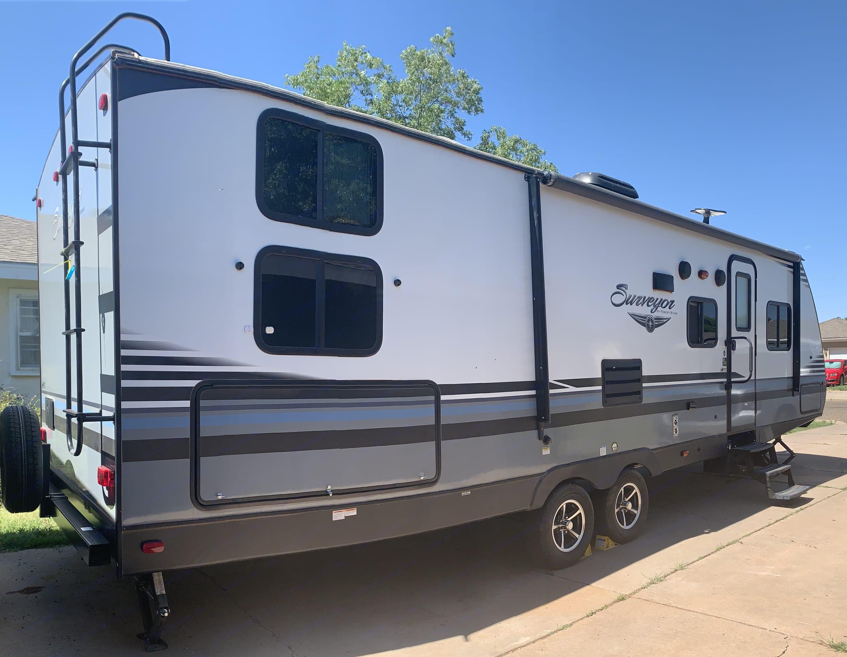 Outside of travel trailer. Forest River Surveyor 2018