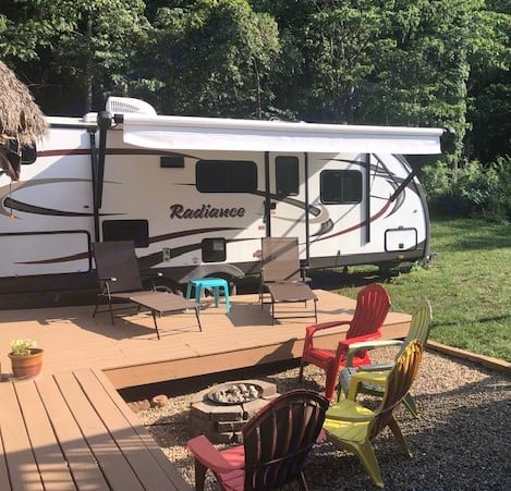 exterior view set up and ready to go. Cruiser Rv Corp Radiance 2015