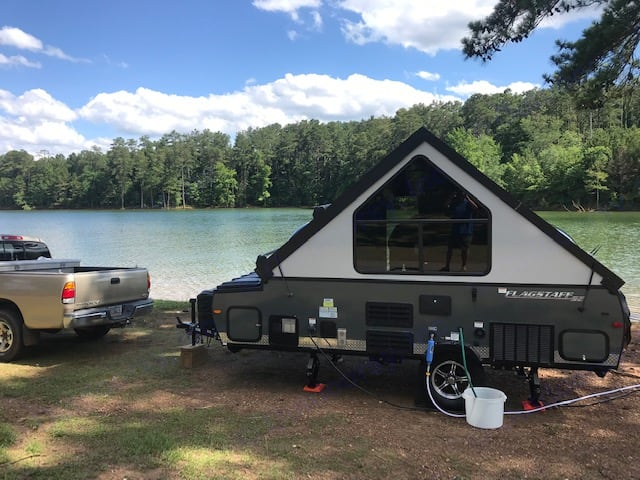 Just set up at Lake Allatoona . Forest River Flagstaff 2018