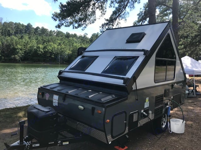 side of the camper after it was setup at Lake Allatoona. . Forest River Flagstaff 2018
