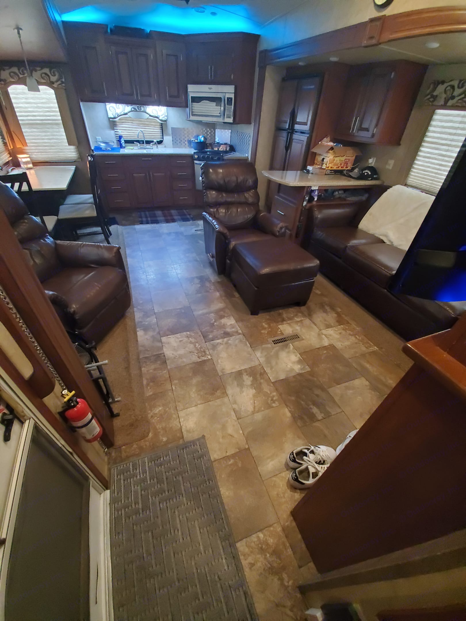 Plenty of living room, with Kitchen in the back.. Forest River Cedar Creek Silverback 2014