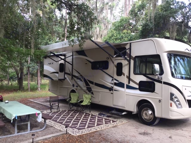 Awning open for plenty of shade. Thor Motor Coach A.C.E 2016