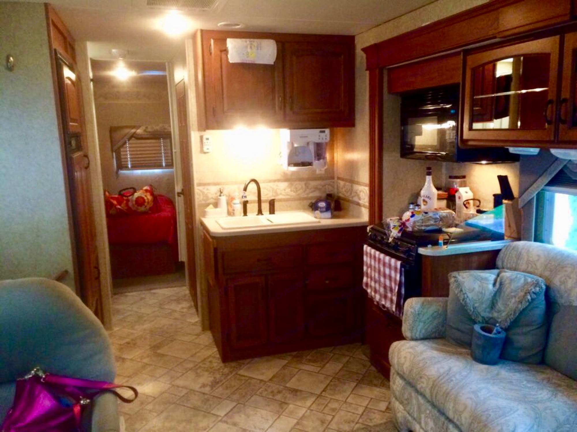 The living room slide out is open in this photo. Jayco Greyhawk 2007