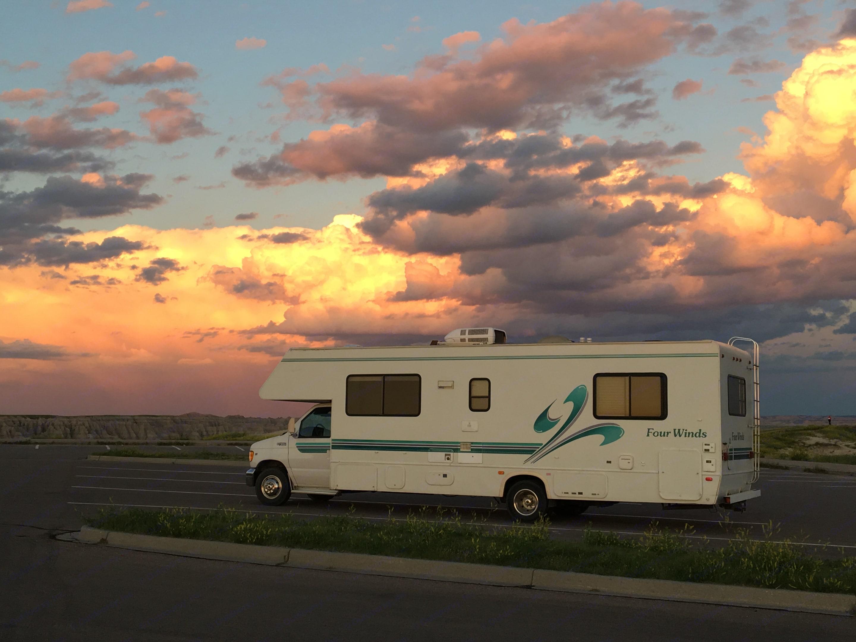 Badlands National Park, South Dakota,  Summer 2019. Thor Motor Coach Four Winds 1999