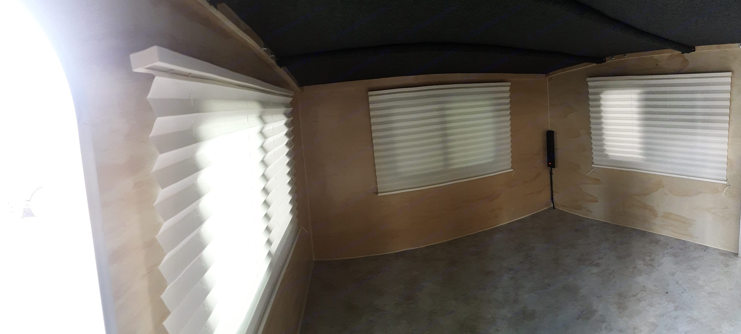 6X8 Cabin fits a queen size mattress.  Blinds on all 3 windows give plenty of privacy.  . Runaway Campers Rangerunner 2019