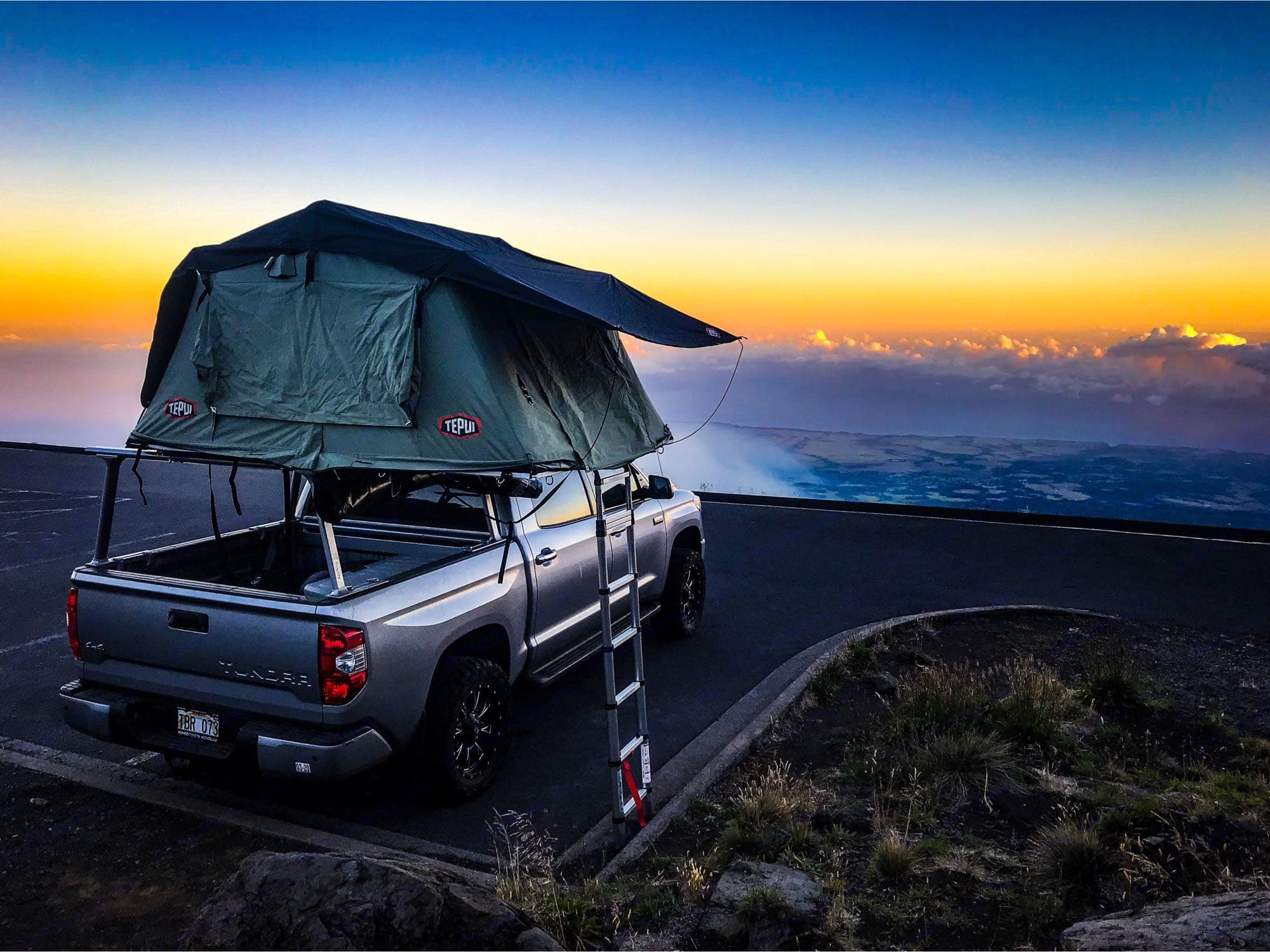 Haleakala sunrise on a cool morning, so beautiful up there.. Toyota Tundra 2017