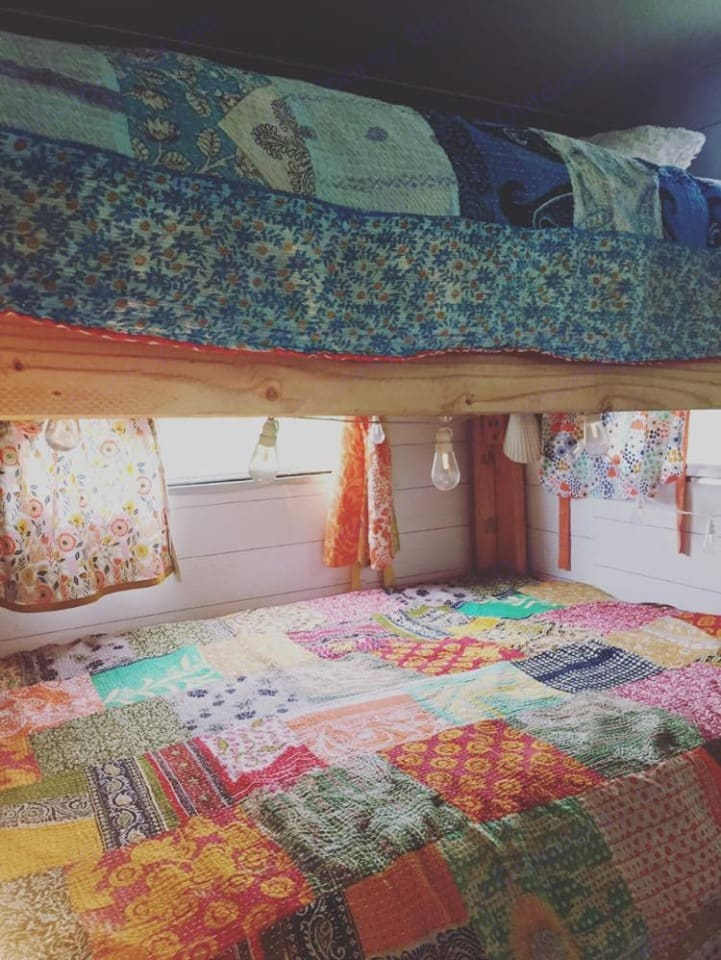 homemade double bunk bed design.  Sleeps 4 comfortably. Shasta Other 1972
