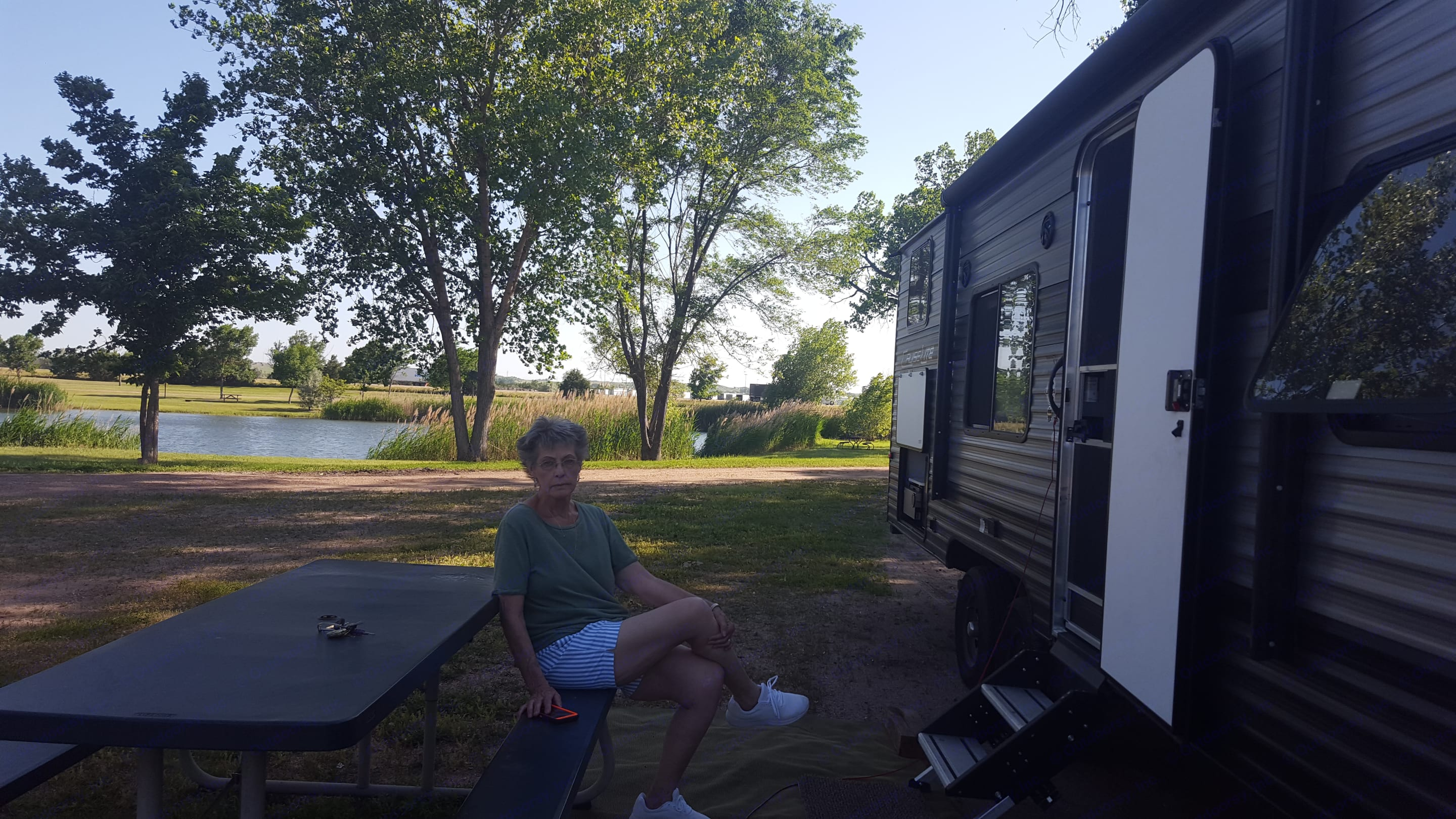 Enjoying a lovely afternoon in North Platte, NE. It was a little windy so we had to roll the awning in.. Forest River Salem Cruise Lite 2019