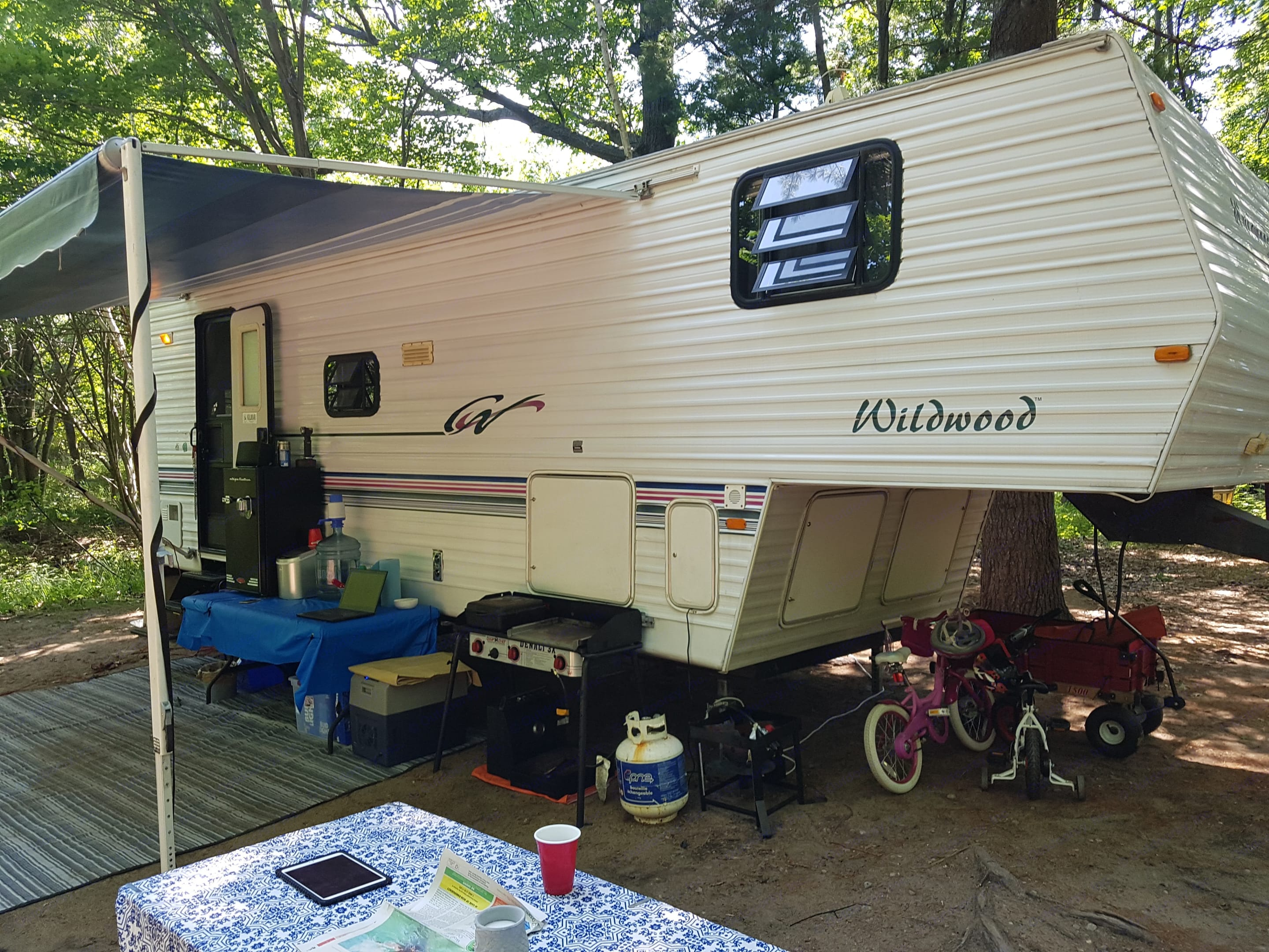 Clean exterior, well kept with newer awning . Forest River Wildwood 1999