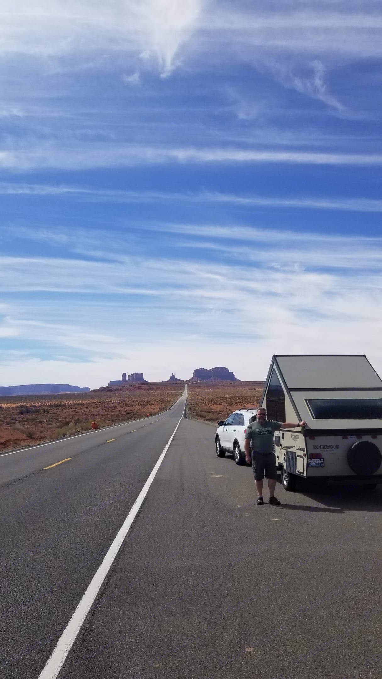 On the road in Monument Valley. Quick stop to pop up for a photo op.. Forest River Rockwood Premier 2015