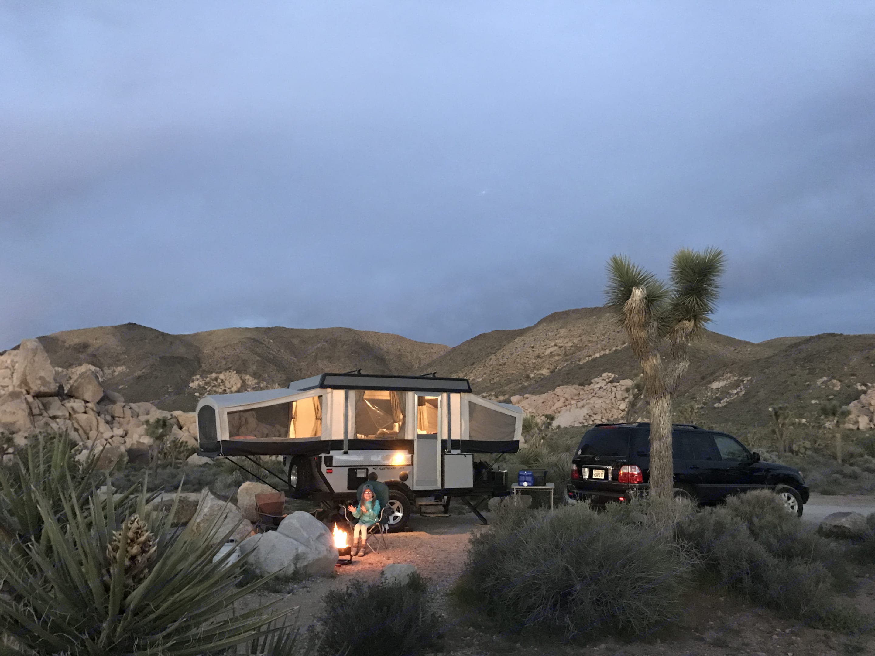 What I love most about my trailer... its not an eye sore in the beautiful landscape of Ryan Campground, Joshua tree. Fleetwood Evolution 1 (E1) 2008
