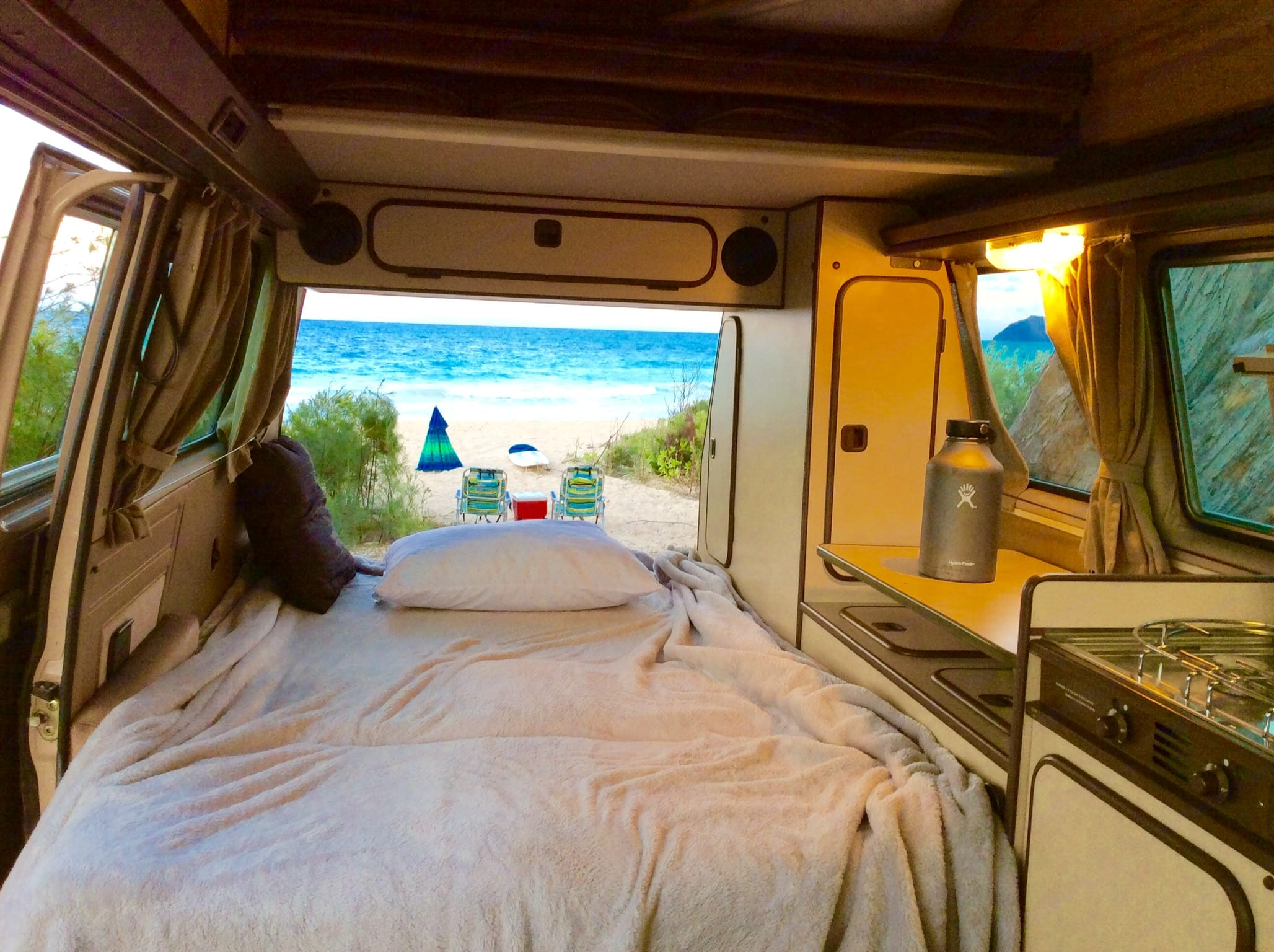 Take a nap after snorkeling (set provided) or body boarding (boards also provided). Volkswagen Vanagon Westfalia 1984